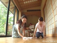 Luscious Japanese MILFs give a handjob and a blowjob porn tube video