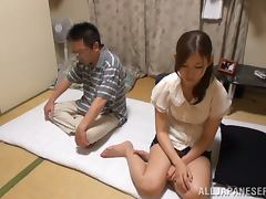 Pretty Japanese housewife performs his marital duty