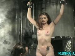 He lightly spanks her ass