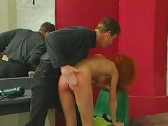 Dominated redhead bitch spanked hard
