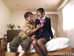 Reo Saionji gets her cunt drilled doggy style indoors