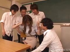 Japanese teacher gets humiliated by her lewd students