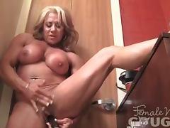 Mature Female Bodybuilder Fucks Herself