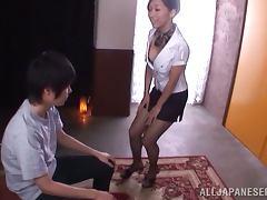 Stunning Miki Horiuhi sucks a cock and licks balls tube porn video