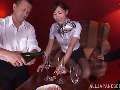 Sexy Japanese girl drinks champagne and gets nailed