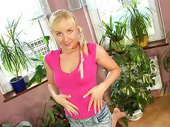 Slim blondie Johanna strips and pleases herself with masturbation tube porn video