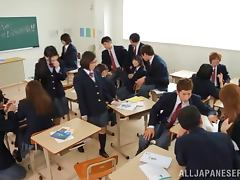 Japanese girl gets punished in front of her class