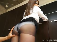 Hot Ayaka Tomoda Teases Through Her Oily Pantyhose tube porn video