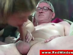 Real dutch hooker cumswaps with old man tube porn video