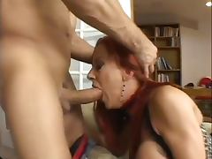 Hot Redhead Gets Throat Fucked And Eats Jizz tube porn video