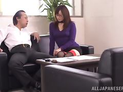 Luscious office manager is pleasing her boss