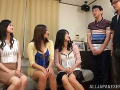 Three slutty Japanese girls suck a dick in POV video
