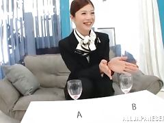 Hot Japanese stewardess gets her tight pussy fucked