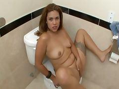 Bathroom, Bath, Bathroom, Bimbo, Brunette, POV