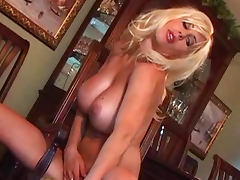 Blonde Puma Swede is playing with her boobies