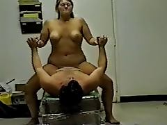 Cute and plump girl enjoys riding her bf