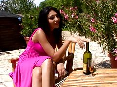 Alison fucks her snatch with a bottle in the garden porn tube video