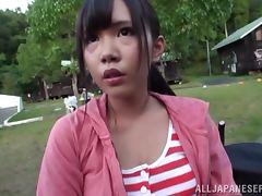 Japanese girl in miniskirt gets fucked hard in a garage