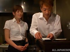 Lustful Japanese waitress gives a blowjob to her colleague