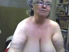 The fat and saggy gran is singing and showing tits tube porn video