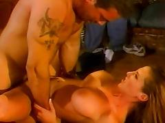 Sweet brunette Sondra Hall is sucking a giant dick
