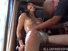 Oiled up and bounded Natsume Inagawa gets toyed