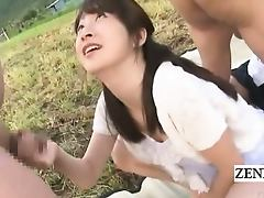 Subtitled outside CFNM Japanese semen train blowjobs