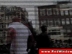 Real amsterdam whore sucks tourists cock tube porn video