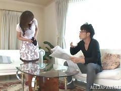 Kinky Japanese girl sucks some guy's prick reluctantly