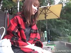 Lustful Akari Shimizu gets fucked from behind outdoors