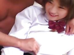 Cute Japanese schoolgirl gets fucked hard uncensored