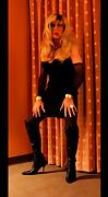 Cortney Gorgeous blonde tranny in black tugs on she cock