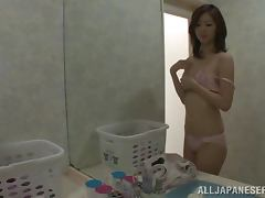 Two cute Japanese girls get naughty with their BFs in a bathroom