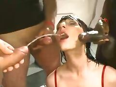 Brunette slut interracial pissing and fucking bang