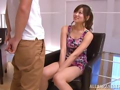 Ayumi Mochizuk deepthroats a cock and gets cum on her face