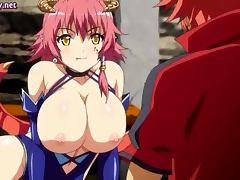 Anime nymphet riding an phallus