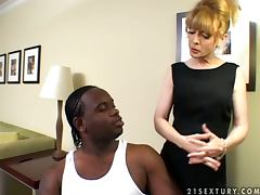 Dirty MILF Nina Hartley seduces her black assistant tube porn video