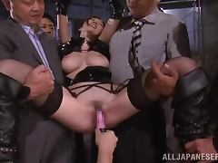 Julia gets tied up and mouth fucked by a few horny dudes