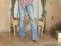 Nedra strips and boasts of her beautiful pedicured feet