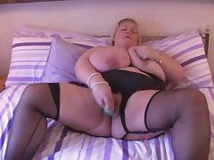 BBW Huge Tits British Blonde Fingers on Bed tube porn video