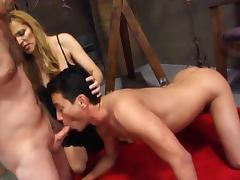 Milf lets her slaves suck cock and eat cum tube porn video