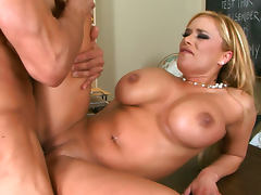 Blonde teacher Shyla Stylez gives a hot blowjob before doggy style tube porn video