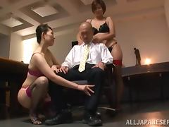 Satsuki Kirioka and Sorami Haga are pleasing their boss