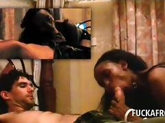 Sex addict afro bitch sucking white penis with lust