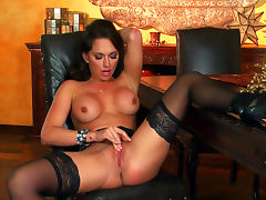 Busty brunette Destiny Dixon poses in her sexy lingerie