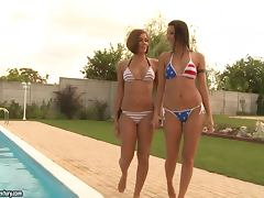 Cindy Hope and Cipriana play lesbian games on the poolside
