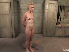 Short haired blonde Dylan enjoys being fucked while tied up tube porn video