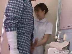 Horny nurse gives a nice blowjob in the toilet tube porn video