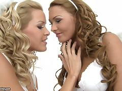 Two heavenly girls in angel costumes have lesbian sex