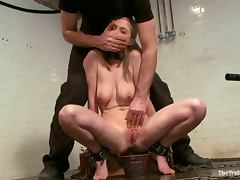 Tied up Penny Pax sucks a cock and gets toyed